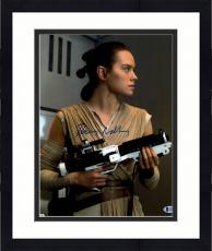 """Framed Daisy Ridley Autographed 11"""" x 14"""" Star Wars The Force Awakens Holding Storm Trooper Blaster Photograph - Beckett"""