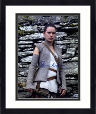 """Framed Daisy Ridley Autographed 11"""" x 14"""" Star Wars The Force Awakens Posing in Front of Rocks Photograph - Beckett"""