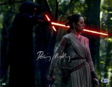 """Framed Daisy Ridley Autographed 11"""" x 14"""" Star Wars The Force Awakens With Kylo Ren Lightsaber to Rey's Neck Photograph - Beckett"""