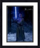 "Framed Daisy Ridley Autographed 16"" x 20"" Star Wars The Force Awakens Holding Lightsaber Photograph - Beckett"