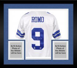 Framed Dallas Cowboys Tony Romo Autographed Reebok White EQT Jersey
