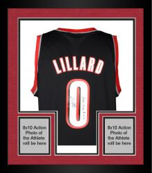 Framed Damian Lillard Portland Trail Blazers Autographed Adidas Swingman Black Jersey with 2012-13 ROY Inscription