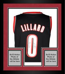Framed Damian Lillard Portland Trail Blazers Autographed adidas Swingman Black Jersey with Rip City Inscription