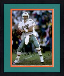 "Framed Dan Marino Miami Dolphins Autographed 16"" x 20"" Vertical in White Jersey 75th Anniversary Patch Photograph"