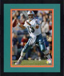 "Framed Dan Marino Miami Dolphins Autographed 8"" x 10"" Passing Black Ink Photograph"