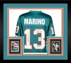Framed Dan Marino Miami Dolphins Autographed Teal Jersey with Multiple Inscriptions - #1 of a Limited Edition of 13