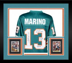 Framed Dan Marino Miami Dolphins Autographed Teal Jersey with Multiple Inscriptions - #13 of a Limited Edition of 13