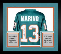 Framed Dan Marino Miami Dolphins Autographed Teal Jersey with Multiple Inscriptions - #2-12 of a Limited Edition of 13