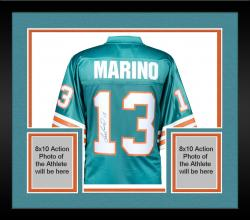 Framed Dan Marino Miami Dolphins Autographed Teal Pro-Line Authentic Jersey