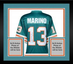 Framed Dan Marino Miami Dolphins Autographed Teal Pro-Line Authentic Jersey with HOF 05 Inscription