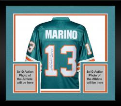 Framed Dan Marino Miami Dolphins Autographed Teal Pro-Line Authentic Jersey with MVP 84 Inscription