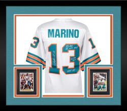 Framed Dan Marino Miami Dolphins Autographed White Jersey with Multiple Inscriptions - #1 of a Limited Edition of 13