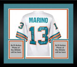 Framed Dan Marino Miami Dolphins Autographed White Jersey with Multiple Inscriptions - #2-12 of a Limited Edition of 13