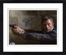 "Framed Daniel Craig Autographed 8"" x 10"" Casino Royale Pointing Gun Photograph - Beckett COA"