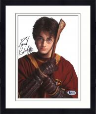 "Framed Daniel Radcliffe Autographed 8"" x 10"" Harry Potter Hugging Broomstick Photograph - Beckett COA"