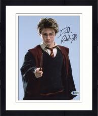 "Framed Daniel Radcliffe Autographed 8"" x 10"" Harry Potter Pointing Wand Photograph - Beckett COA"