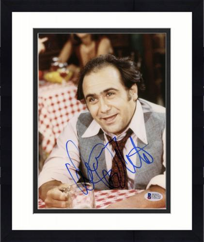 """Framed Danny Devito Autographed 8""""x 10"""" Taxi Drinking Beer Photograph - Beckett COA"""