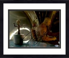 """Framed Dave Bautista Autographed 11"""" x 14"""" Sitting With Baby Groot Guardians Of The Galaxy Photograph - Beckett COA"""