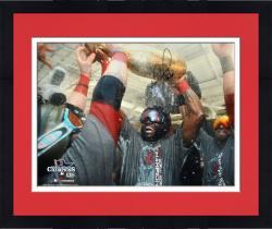 Framed David Ortiz Boston Red Sox 2013 World Series Champions Autographed 16'' x 20'' Champagne Photograph with Big Papi Inscription