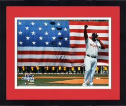 Framed David Ortiz Boston Red Sox 2013 World Series Champions Autographed 16'' x 20'' Flag Photograph with Boston Strong This Is Our F'N City Inscription - Limited Edition of 34