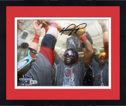 Framed David Ortiz Boston Red Sox 2013 World Series Champions Autographed 8'' x 10'' Champagne Photograph