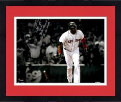"Framed David Ortiz Boston Red Sox Autographed 11"" x 14"" Bat Drop Spotlight Photograph with Multiple Inscriptions"