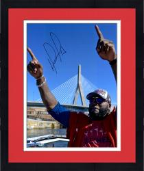Framed David Ortiz Boston Red Sox Autographed 16'' x 20'' Finger Tobin Bridge Photograph