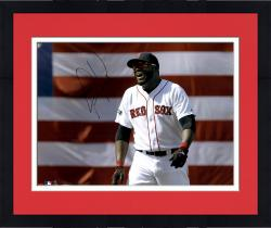 Framed David Ortiz Boston Red Sox Autographed 16'' x 20'' Flag Smiling Photograph