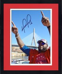 Framed David Ortiz Boston Red Sox Autographed 8'' x 10'' Finger Tobin Bridge Photograph
