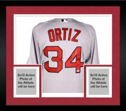 Framed David Ortiz Boston Red Sox Autographed Majestic Authentic Grey Jersey