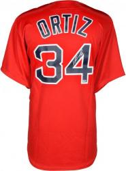 Framed David Ortiz Boston Red Sox Autographed Majestic Replica Red Jersey