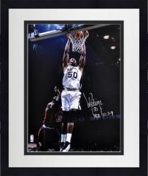 "Framed David Robinson San Antonio Spurs Autographed 16"" x 20"" Photograph with HEB 12:7-9 Inscription"