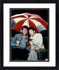 "Framed Dean Martin & Jerry Lewis Autographed ""11 x 14"" Holding Umbrella Photograph - PSA/DNA LOA"
