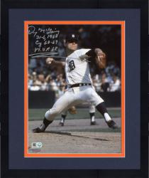 """Framed Denny McClain Detroit Tigers Autographed 8"""" x 10"""" Black and White Pitching Photograph with Multiple Inscriptions"""