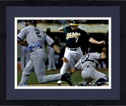 Framed Derek Jeter New York Yankees Autographed 16'' x 20'' Bat Flip vs Oakland Athletics Photograph