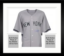 Framed Derek Jeter New York Yankees Autographed Authentic Road Jersey