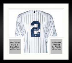 Framed Derek Jeter New York Yankees Autographed Majestic Authentic Pinstripe Jersey