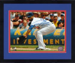 "Framed Derrek Lee Chicago Cubs Autographed 8"" x 10"" Fielding Photograph"