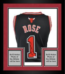 Framed Derrick Rose Chicago Bulls Autographed Swingman Adidas Black Jersey