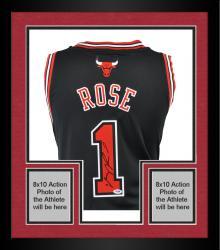 Framed Derrick Rose Chicago Bulls Autographed Swingman Adidas Black Jersey