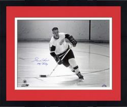 "Framed Gordie Howe Detroit Red Wings Autographed 16"" x 20"" Helmet Off Photograph with Mr. Hockey Inscription"