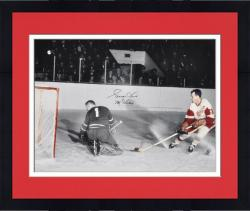 "Framed Gordie Howe Detroit Red Wings Autographed 16"" x 20"" vs. Goalie Photograph with Mr. Hockey Inscription"