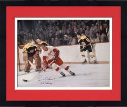 """Framed Gordie Howe Detroit Red Wings Autographed 16"""" x 20"""" vs. Boston Bruins Photograph with Mr. Hockey Inscription"""