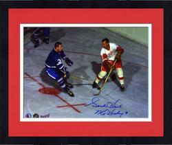 """Framed Detroit Red Wings Gordie Howe Autographed 8"""" x 10"""" Action vs Johnny B Photograph with Mr. Hockey Inscription"""