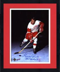 "Framed Detroit Red Wings Gordie Howe Autographed 8"" x 10"" Verical Action Blue Ink Photograph with Mr. Hockey Inscription"