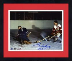 "Framed Detroit Red Wings Gordie Howe Autographed 8"" x 10"" Action vs. Goalie Photograph with Mr. Hockey Inscription"