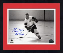 "Framed Detroit Red Wings Gordie Howe Autographed 8"" x 10"" Helmet Off Photograph with Mr. Hockey Inscription"