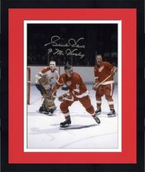 """Framed Detroit Red Wings Gordie Howe Autographed 8"""" x 10"""" with Delvecchio Photograph with Mr. Hockey Inscription"""