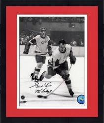 "Framed Detroit Red Wings Gordie Howe Autographed 8"" x 10"" B&W Vertical Shooting Puck Photograph with Mr. Hockey Inscription"