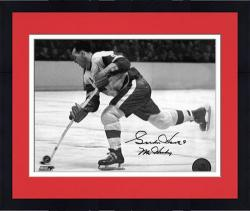 """Framed Detroit Red Wings Gordie Howe Autographed 8"""" x 10"""" B& W Horizontal Shooting Puck Photograph"""